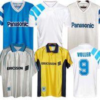 90 91 93 97 98 99 Marseille Retro 홈 멀리 축구 유니폼 기념 셔츠 Deschamps Papin Boli Desailly Voller Long Sleeve Football Kit
