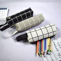 Kawaii Canvas Matita Caso ad alta capacità Grid Grid Pen Makeup Sacchetto Studenti Regalo Forniture scolastiche forniture coreane Cancelleria coreana Nessuna maiale KDJK2105