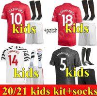 2021 Manchester Lingard Futbol Formaları Pogba 10 Rashford Dövüş Ev Uzakta 3rd Çocuk Kiti Gençlik Çocuk Birleşik 20 21 Futbol Gömlek