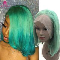 Lace Wigs Malaika Hair Straight Bob Wig Green Front Human 13x4 Blue Brazilian PrePlucked 180% Remy