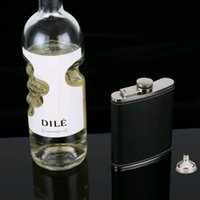 Hip Flasks Black PU Leather 7OZ 8OZ Portable Flask Stainless Steel Male Pocket Drinkware With One Funnel For Alcohol Vodka Whisky