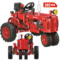 City Clássico Retro Trator Modelo De Carro Building Bloco Técnico DIY DIY Passeio Trator Veículo Brinquedos Educativos para Crianças 210901