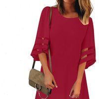 Summer Sexy O Neck Mesh Womens Dresses Panel Three Quarter Bell Sleeve Loose Club Beach Mini Sundress 9041131