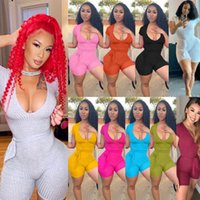 Sexy Femmes Combinaisons Jumpsuits Deingner 2021 Nouvelle mode Deep Vew Strip Elastic Bande Bandes Rompes Skinny Oneesies Bodysuits Streetwear Plus Taille