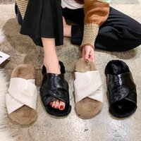 Sandals Sexy women leather slippers or high cross fashion interior skin design winter-flat shoes from the of fake ladies room O79P