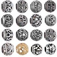 الفضة القديمة المعادن فضفاض الخرز الأصلي سحر أساور قلادة حلية مجوهرات للنساء diy صنع