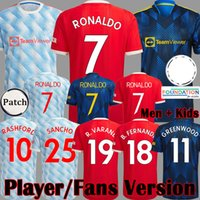 2021 2022 Manchester Üst FC Futbol Forması Ronaldo Sancho Greenwood Pogba Rashford Oyuncu Sürümü United Futbol Gömlek Fernandes UTD Kitleri 21 22 Adam Çocuk Üniforma