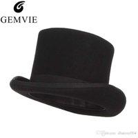 Gemvie 13.5 سنتيمتر 100٪ الصوف فيلت أعلى قبعة للرجال فيدورا للنساء جنون hatter حلي اسطوانة قبعة الرجل ديربي قبعة الساحر