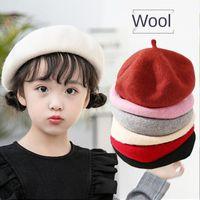 Caps & Hats 2021 Children Wool Berets Baby Kids Spring Autumn Winter Boys Girls Fashion Cap Children's Painter French