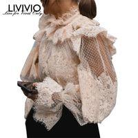 Women's Blouses & Shirts [LIVIVIO] Lace Floral Polka Dot Ruffled Lantern Long Sleeve Stand Neck Sheer Blouse Women Shirt Vintage 2021 Autumn