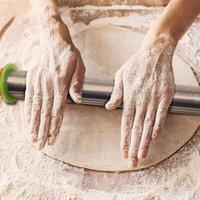 DUOLVQI Länge einstellbarer Walzbolzen Edelstahl Fondant 43cm Walzbolzen Kuchen Rollenteig Walzbolzen Backwaren Werkzeuge BWF9454