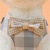 Linda mascota para perros arnés suaves correas y chaleco a cuadros arnés perro perrito liderazos para perros pequeños gatos Cuello de malla transpirable 373 R2