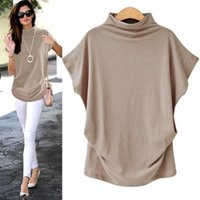 Women's Blouses & Shirts Women Batwing Sleeve Blouse Loose Tops Solid Color Turtleneck Shirt Casual Summer 2021 Femme Large Size 6.28