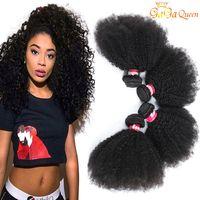 9A Brésilien Afro Kinky Cheveux Curly Bundles Mink Brésilien Curly Virgy Virgy EXTENDUES DE CHEVEUX HUMÉRAL AFRO KINKY CORDÉ TISSEURS GAGA Queen Hair