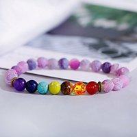 Pulseira resistida roxo clássico pulseira frisada 7 chakra yoga energia cura elástica pulseira de envoltório para mulheres
