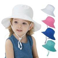 여자를위한 여름 아기 모자 소년 아이들 양동이 모자 봄 가을 여행 해변 모자 윈드 스페인 로프와 함께 아기 모자 태양 모자 16 색 1908 Z2