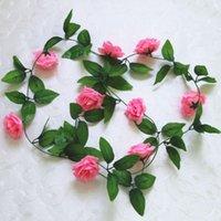 Dekoratif Çiçekler Çelenkler 5 ADET 2.45 M Yapay Gül Asma Yapraklar Ile Sahte Çiçek Çekim Sahne Için Ev Oturma Odası Dekor Düğün Bebek