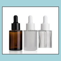Packing Office School Business & Industrial 100Pcs 30Ml Frosted Or Clear Glass Bottles With The White Dropper Dhb664 Drop Delivery 2021 Nwom