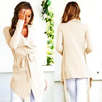 Women's Vests Irregular Long Coat Arrival 2021 Spring Autumn Fashion Casual V-neck Cardigan Turn-down Women Bandage Tops