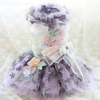 Kostenlose handgemachte Hundekleidung 3D Blumenschichten Haustier Tutu Hochzeitskleid Abendkleid Pudel Malteser Drop Shipping