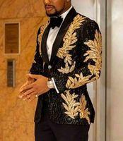 Shinny Zroszony Slim Fit Męskie Blazer z Spodnie 2021 Formalna Party Wedding Garnitur Groom Palenie Biznes Tweed Tuxedos Set