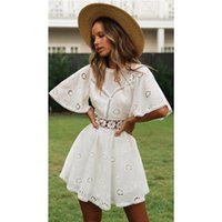 Casual Dresses 2021 Bikini Cover-ups White Tunic Sexy V-neck Butterfly Sleeve Summer Beach Wear Mini Dress Plus Size Women Swimsuit Cover Up