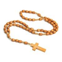 수제 보석 도매 가톨릭 묵주 목걸이 나무 구슬 수제 십자가 종교 예 수 쥬얼리