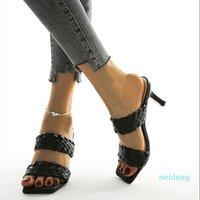 Frauen Solide Farbe Kleid Schuhe Plus Größe Sommerschuhe Kompilieren High Heels Sandalen Hausschuhe Stiletto Spike Wide Schnürsenkel Mode Heißer Verkauf 2021