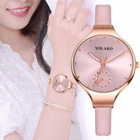 Наручные часы Розовые Золотые Часы для Женщин Yolako Женские Часы Роскошные Топ Женская Повседневная Мода Монтре Femme 2021 Кожаная Саат