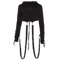 Felpa con cappuccio nera Donne manica lunga Gothic Breve con cappuccio Halloween Fantasia Felpa Costumes Costumi femmina con cappuccio Top A0KX #