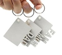 Sublimation MOM DAD FAM Keychains Party Favor DIY Blank MDF Key Rings for Mother and Father gift Wholesale