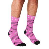 Men's Socks Funny Pink Musical Notes Printed Men Harajuku Happy Hip Hop Novelty Cute Boys Crew Casual Crazy For