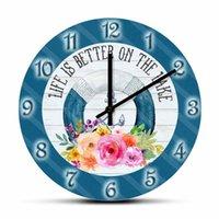 Orologi da parati La vita è migliore sul lago Colore stampato orologio Loving Nature Nature Anello Anello Banca Navy Anchor Flower Acquerello orologio da orologio