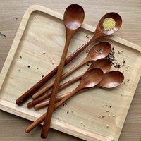 Spoons Cooking Utensils Wooden Spoon, Long Handle Mixing Spoon 6-Piece Kitchen Utensil Set