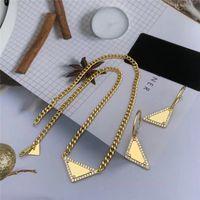 Женский треугольник кулон ожерелья для женщин Роскошные дизайнеры Ожерелья с серьгами цепочки цепи моды ювелирных изделий