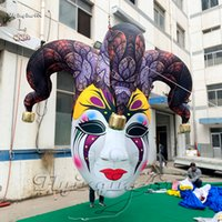 Halloween Decorative Lighting Inflatable Clown Mask Replica 2m/3m Hanging Blow Up Queen Medusa Head With 2 Faces For Carnival Night Decoration