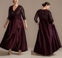 Burgundy Sequined Mother Of The Bride Dresses With Long Sleeves V Neck Satin A-Line Evening Gowns Floor Length Prom Dress