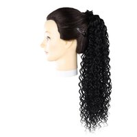 Synthetic Wigs Jerry Curly Wrap Around Ponytail String Strap Clip In Hair 22Inch140g Black Brown Ombre Color Heat Resistant Daily Use