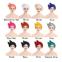 Elegant Turban Hats African Headtie Women Bow Cap Beaded Stone For India Hat Head Wrap Ready Headband Girl Hair Accessories Lady