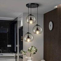Pendant Lamps Vintage Smoke Gray Amber Glass Lights 1 2 3 Light Living Room Nordic Led Loft Industrial Hanging Lamp Fixtures