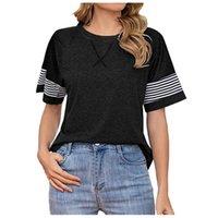 Women's Blouses & Shirts Black Tops For Ladies Blusas Mujer De Moda 2021 Womens Summer Fasion Short Sleeve Round Neck Stripe Print Casual Sh