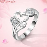 Wedding Rings 2021 Fashion Jewelry Heart-shaped 925 Diamond Engagement Proposal Ring Female Bands For Couple