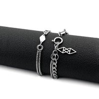 Link, Chain Double Layers Geometric Stainless Steel Bracelets For Women Elegant Box Snake Charm Bracelet Birthday Party Gift 20cm