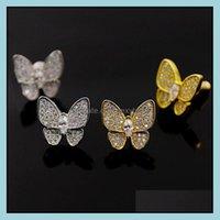 Hoop & Hie Jewelrycopper Womens Butterfly Stud Earrings Diamond Inlay Gold Sier Fine Jewelry Middle East Gift Drop Delivery 2021 Zaw3Y