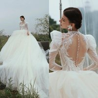 Other Wedding Dresses Elegant Puff Long Sleeves Ball Gown Appliques Beaded Bridal Sexy Court Train Tulle Vestidos De Novias