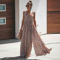 Jastie Women Summer Dress Floral Print Maxi es Bohemian Hippie Beach Long Women's Clothing vestidos de verano 210611