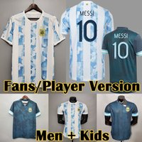 2021 Arjantin Copa Amerika Ev Futbol Formaları Messi DyBala Hayranları Oyuncu Sürümü Futbol Gömlek Aguero Icardi Mascherano Camiseta de Futbol Kiti