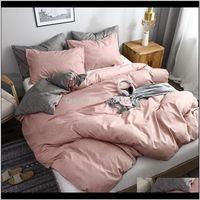 Sets Supplies Textiles Home & Garden Luxury Pure Color Bedding Modern Duvet Er Set King Queen Full Twin Hybrid Cotton Brief Bed Flat Sheet Dr