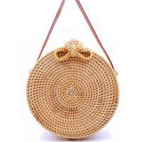 Storage Bags Summer Ladies Straw Woven Handbag Round Beach Hand-woven Wicker Bag Bohemian Messenger