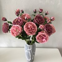 Double decked flower Home decoration Wedding props artificial flowers single branch roses rich decore ation Angela